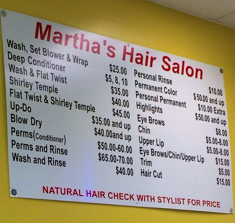 Prices Marthas Hair Salon Yelp