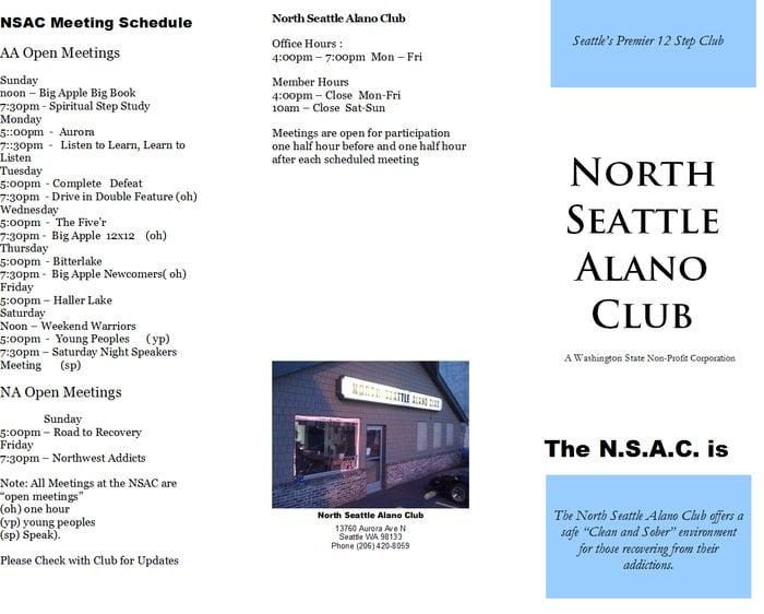 North Seattle Alano Club: 13760 Aurora Ave N, Seattle, WA