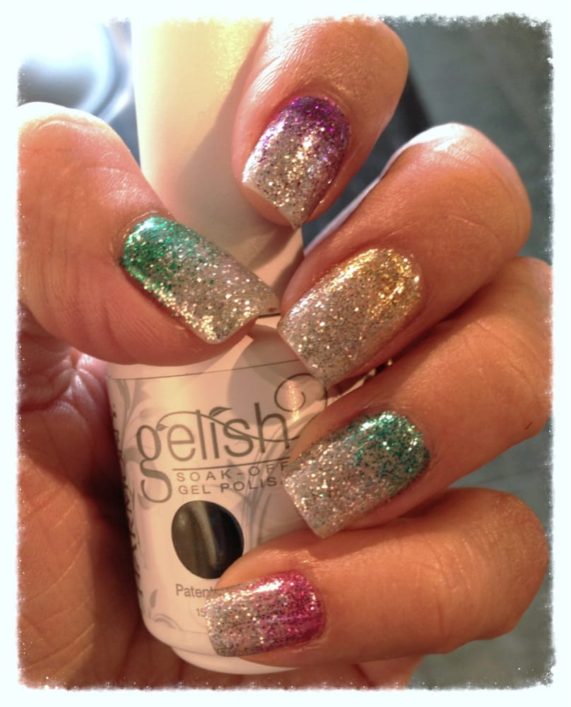 Ombré glitter fade, with gel manicure. Done by Aretha - Yelp