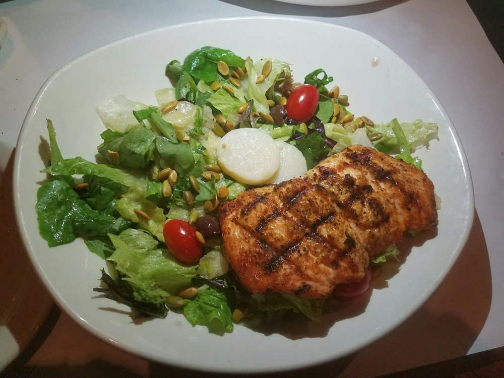 house salad with olives and grilled salmon yelp. Black Bedroom Furniture Sets. Home Design Ideas