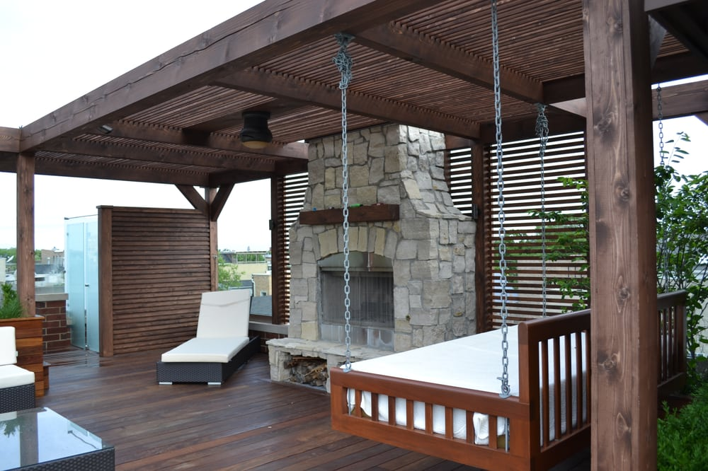 Outdoor Fireplace With Daybed Swing Yelp