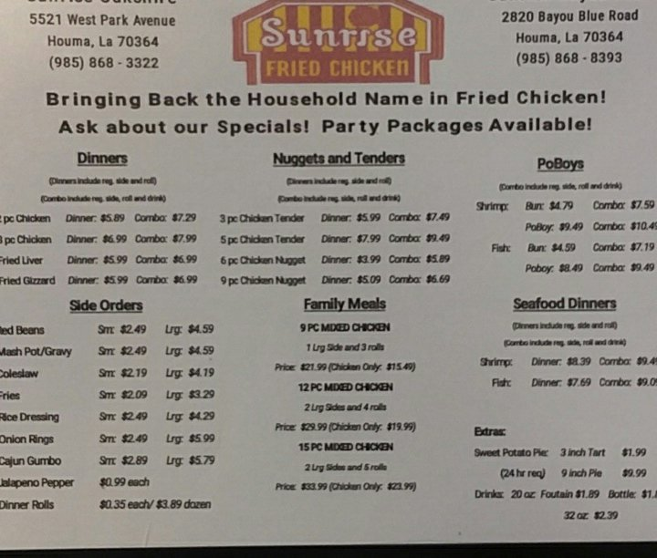 Sunrise Fried Chicken: 2818 Bayou Blue Rd, Houma, LA