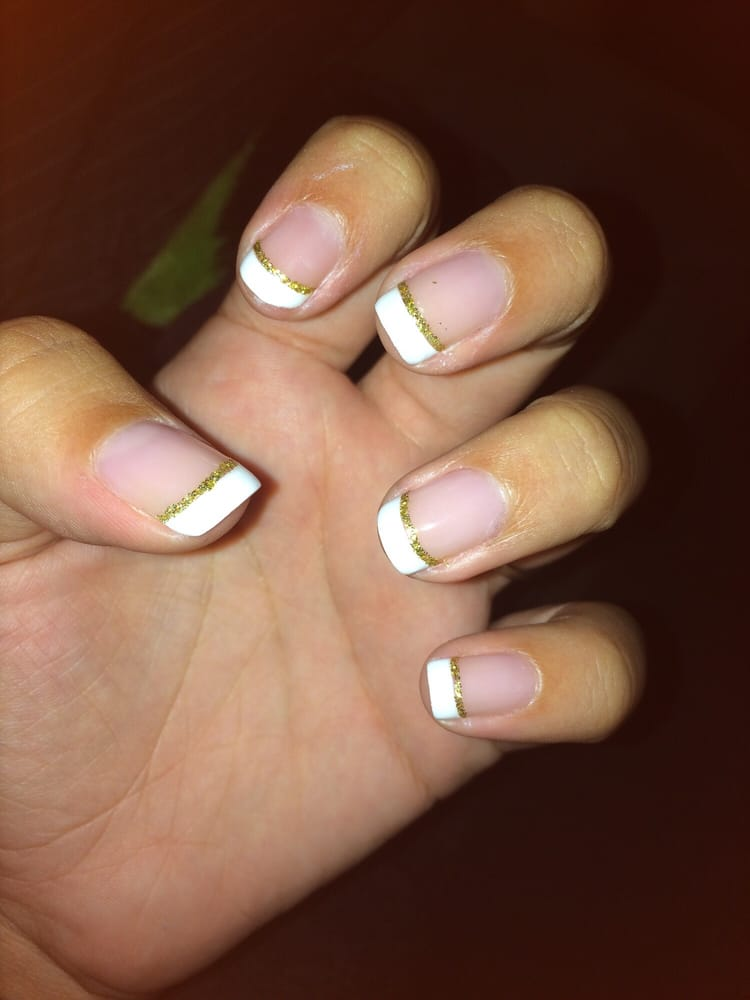 French gel manicure on my natural nail with a gold line - Yelp