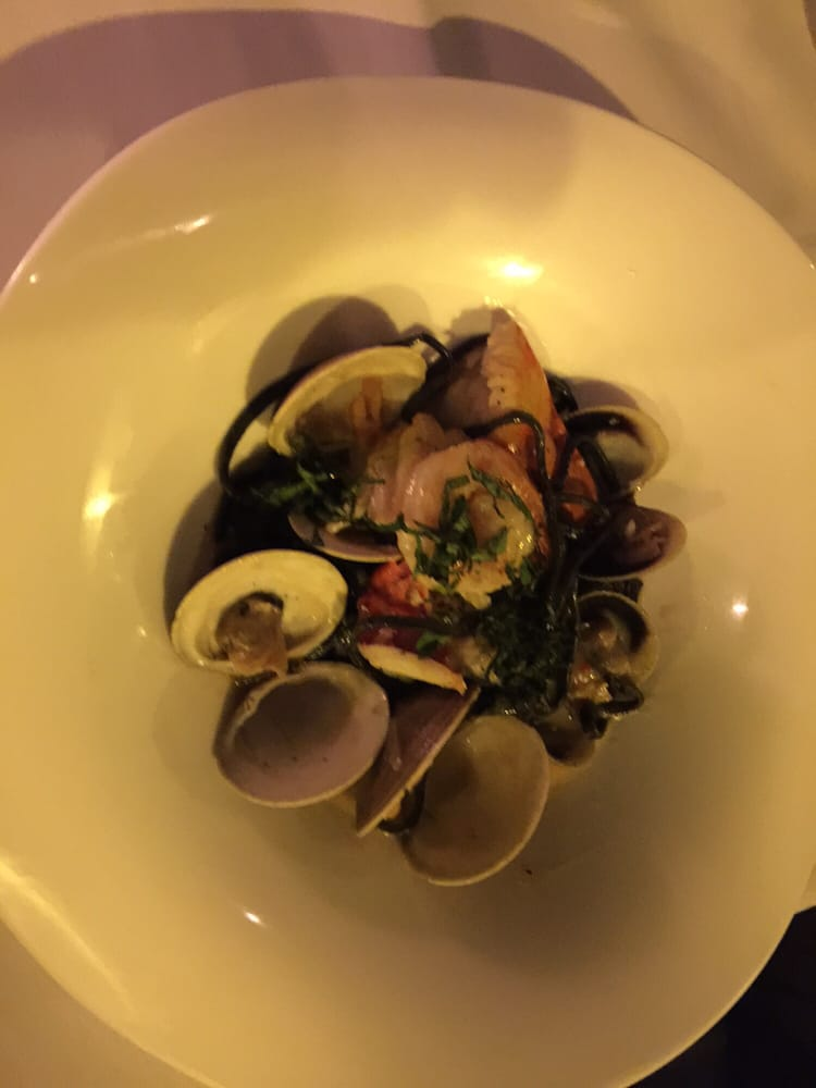 Black squid ink pasta amazing best dish on the menu be for North river fish bar