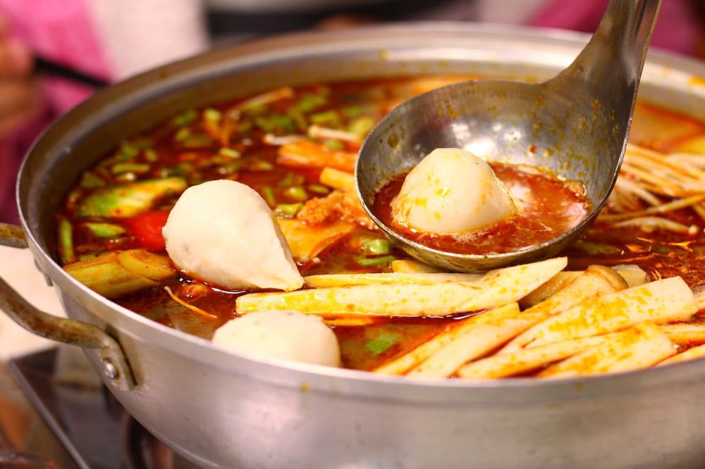 Spicy thai catfish hotpot with a side order of fish balls for Fish ball with roe