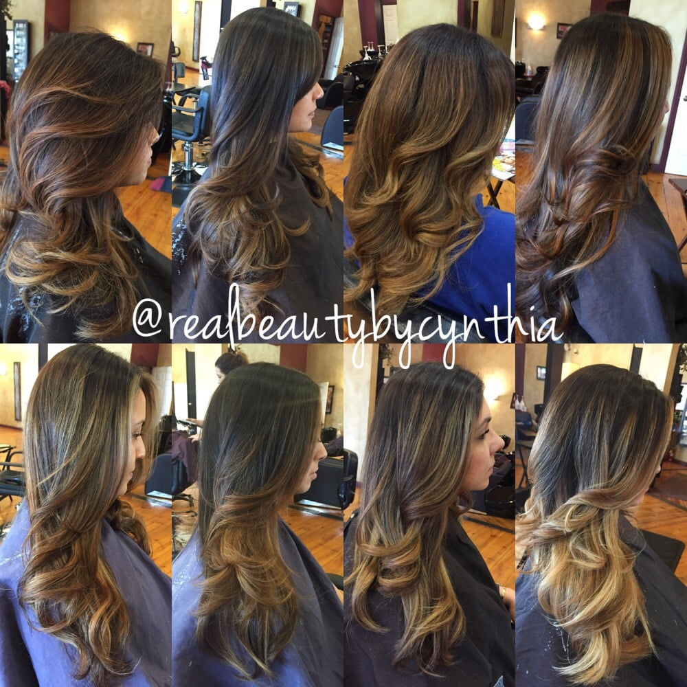 ... similar tones dark brown to caramel/blonde all color and cuts by me