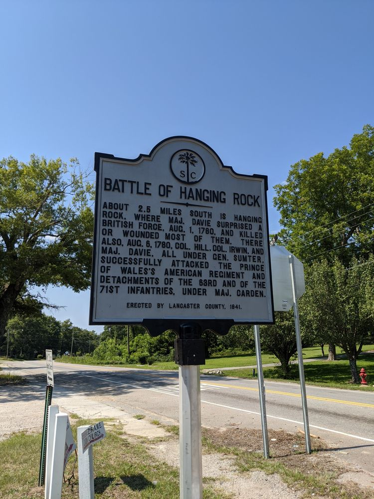 Battle of Hanging Rock Historic Marker: 309 Main St, Heath Springs, SC