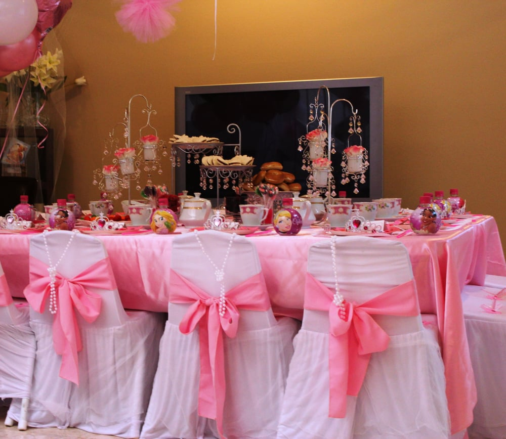 Princess tea party girls party kids tables and chairs - Decoration table anniversaire bebe ...