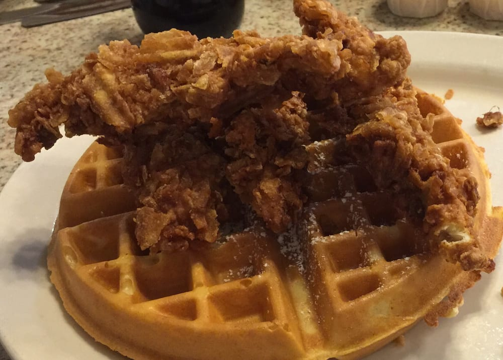 Chicken And Waffles Very Good Huge Portion Yelp