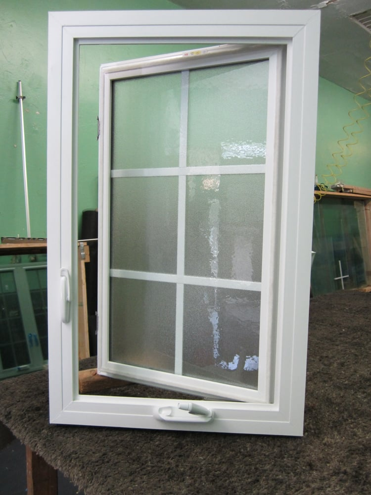 Vinyl casement window with obs glass and grids block frame for Glass block window frame