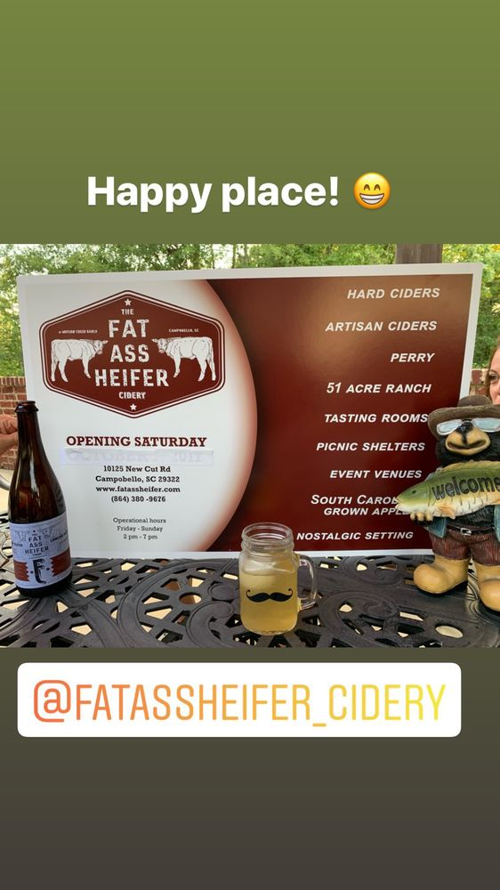 Fat Ass Heifer Cidery: 10125 New Cut Rd, Campobello, SC