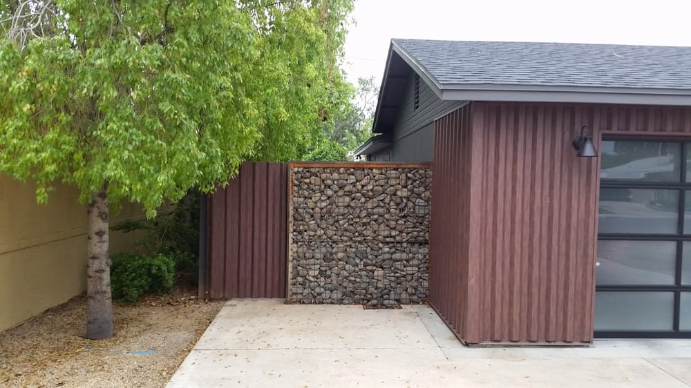 Metal gate with gabion wall yelp for Gabions phoenix