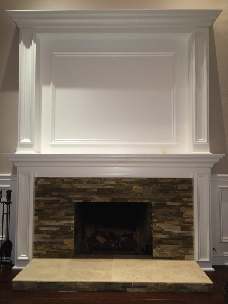 Stone and tile over and old brick fireplace yelp - Tile over brick fireplace ...