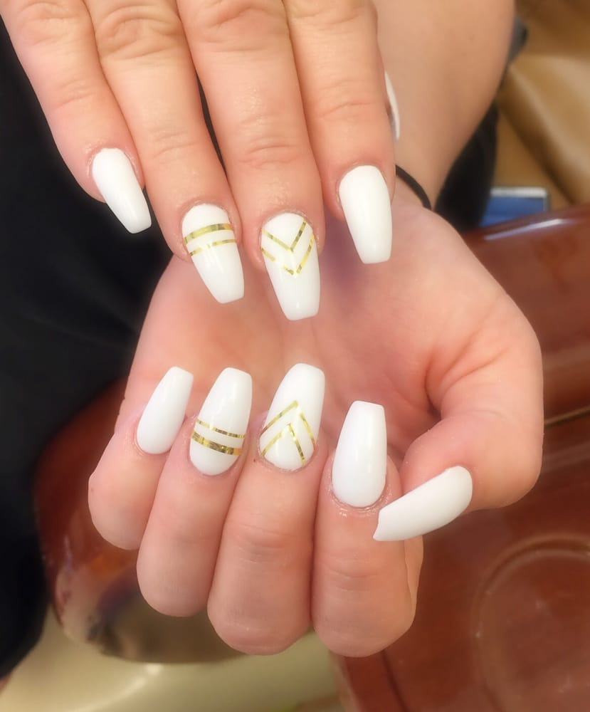 Coffin shape acrylic nails by Tracy - Yelp