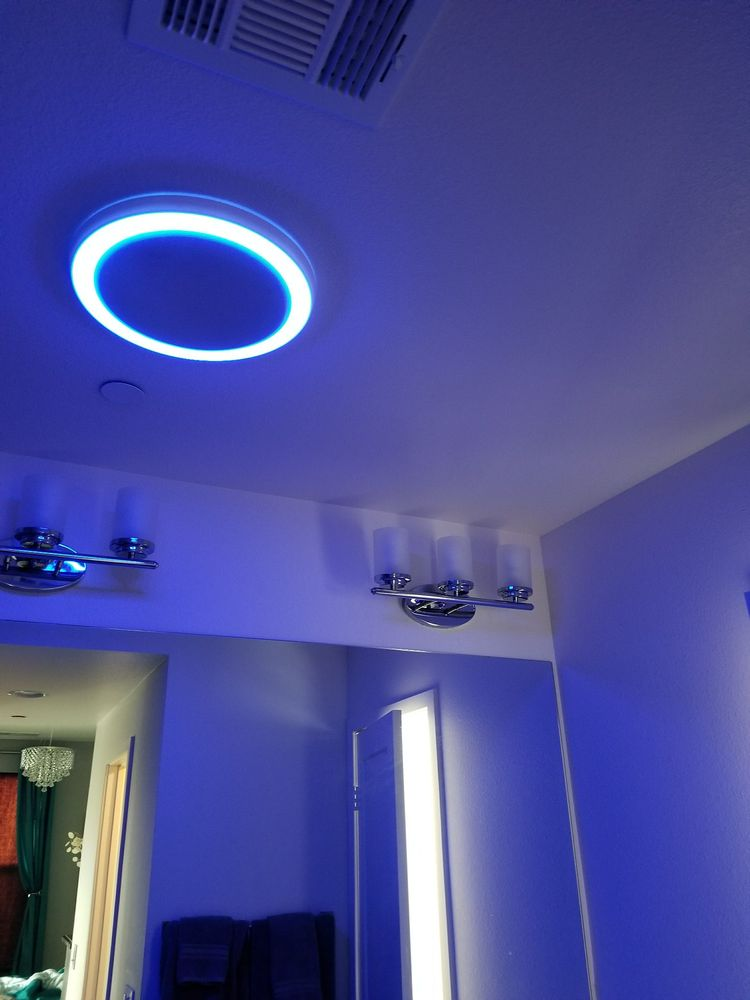 New Bathroom Fan Speaker Blue Led Night Light Awesome