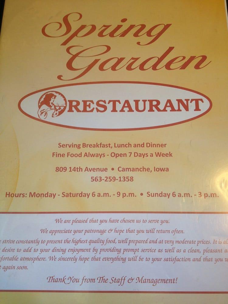 Spring Garden Restaurant: 809 14th Ave, Camanche, IA