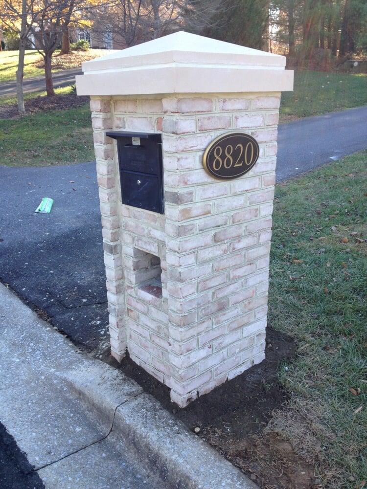 Brick Mailbox With Custom Cast Stone Cap Yelp