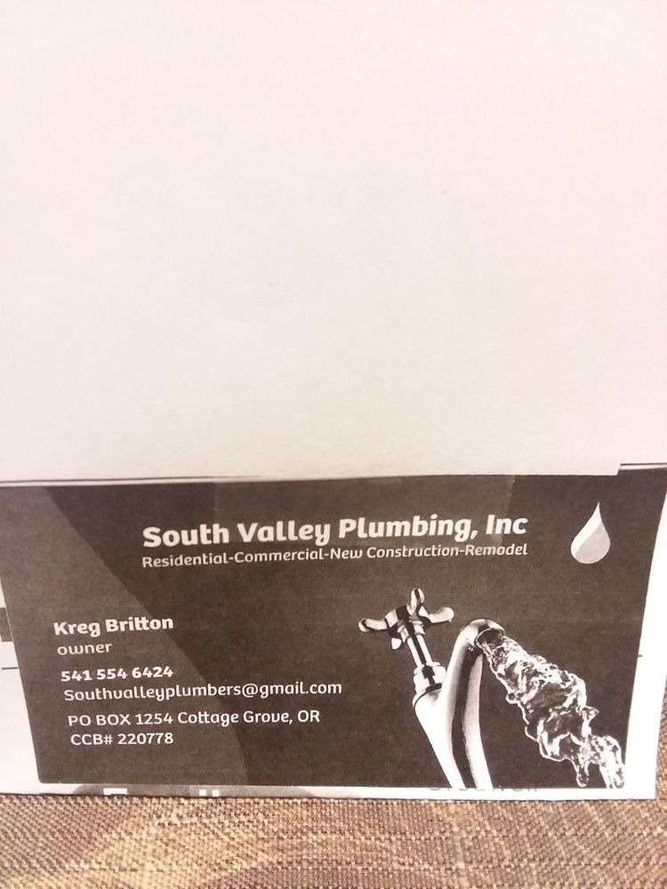 South Valley Plumbing: Cottage Grove, OR