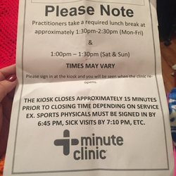 minute clinic doctors note