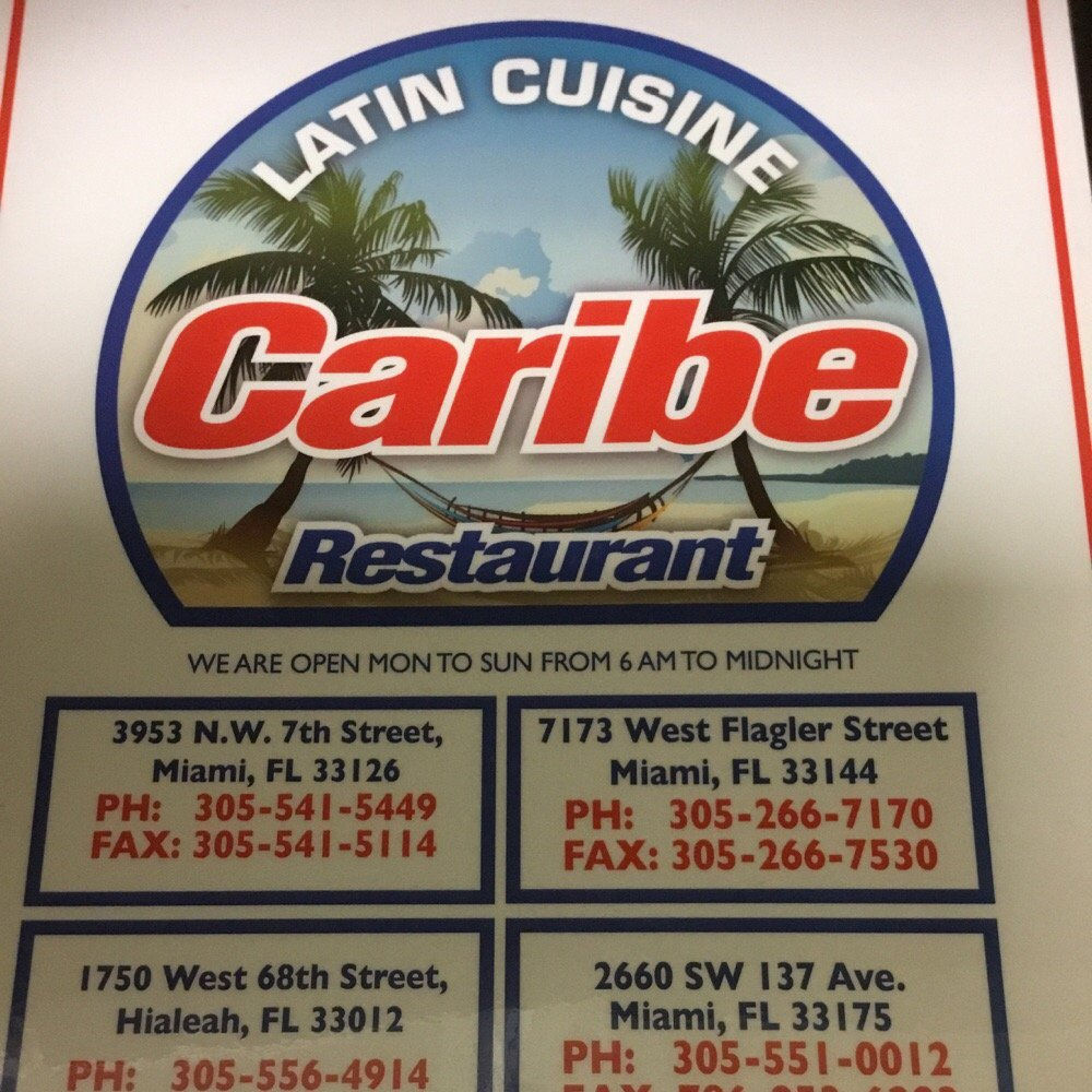 Caribe Cafe Restaurant Hialeah Menu