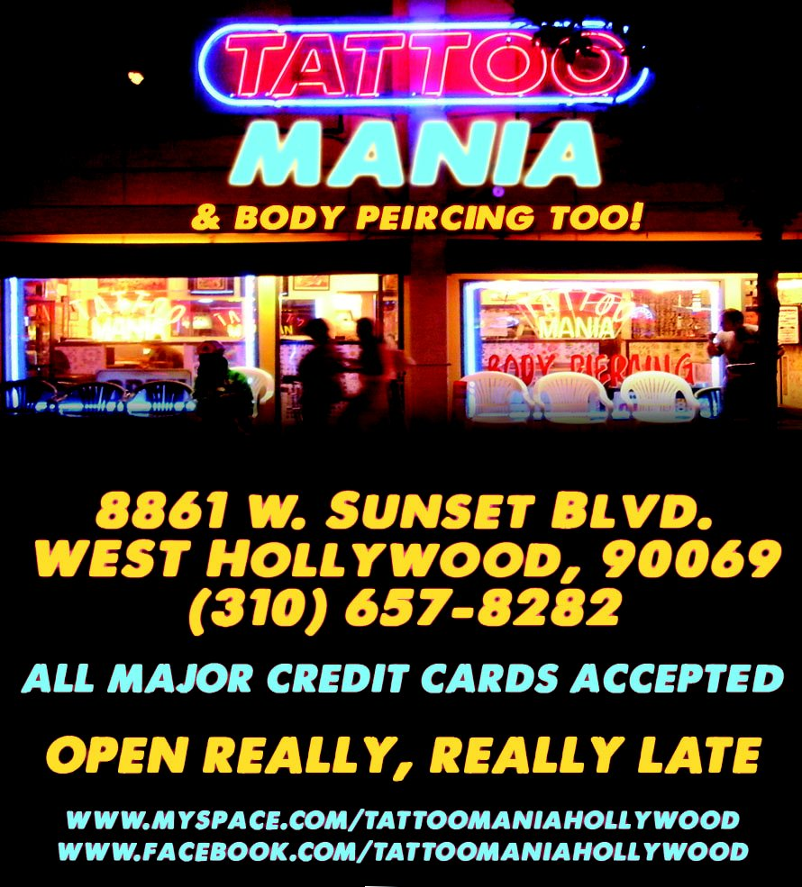 Tattoo Mania  Reviews Tattoo  W Sunset Blvd West Hollywood Ca Phone Number Yelp