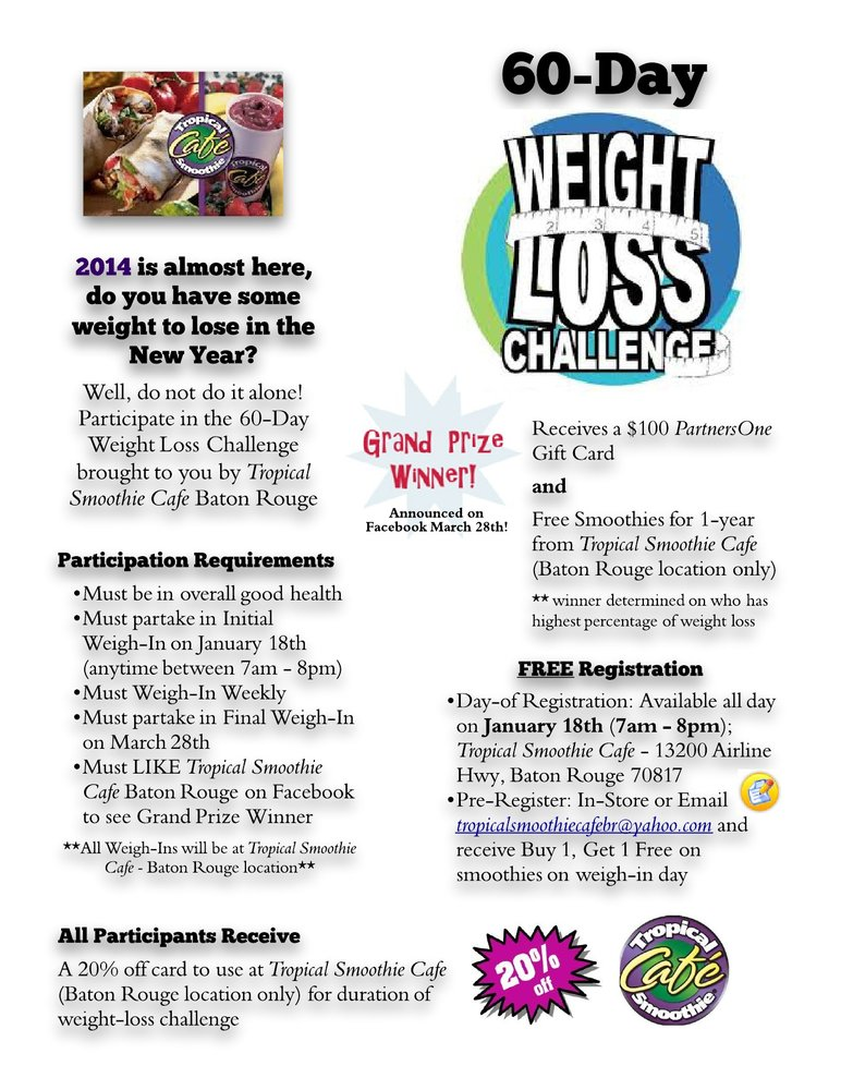 60 Day Weight Loss Challenge Baton Rouge Events Yelp